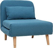 Poltrona letto convertibile in tessuto blu anatra