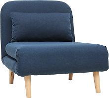 Poltrona letto convertibile in tessuto blu scuro