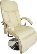 Poltrona Massaggiante in Similpelle Bianco Crema -