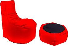 Poltrona Pouf E Tavolino In Acrilico Rosso -