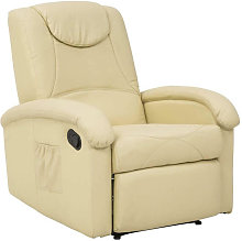 Poltrona Relax Reclinabile Confort Imbottita Beige
