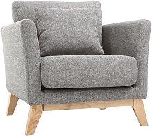 Poltrona scandinava grigio chiaro piedi in legno
