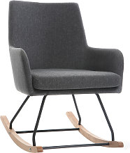 Poltrona sedia a dondolo design in tessuto grigio