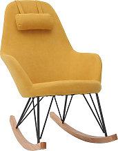Poltrona - sedia a dondolo in tessuto giallo e