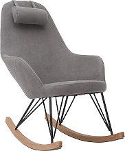 Poltrona - sedia a dondolo in tessuto grigio