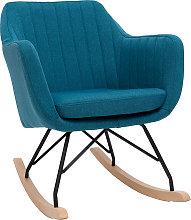 Poltrona-sedia a dondolo scandinava in tessuto Blu