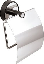 Porta carta igienica finitura nera in acciaio
