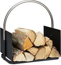 Porta Legna da Interno, Metallo, Manico Rotondo,