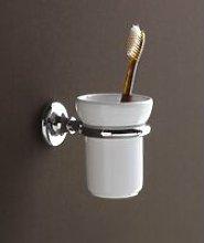 Porta spazzolini cromo e ceramica bianco serie