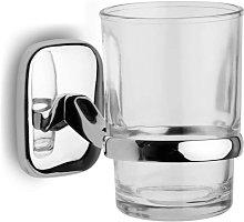 Porta spazzolini in vetro e supporto cromato