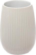 Porta spazzolini rigato in ceramica, bianco bianco