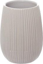 Porta spazzolini rigato in ceramica, grigio grigio