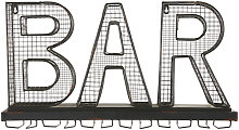 Portabicchieri con parola bar in metallo nero