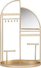Portagioie con specchio in metallo dorato