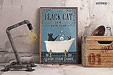 Posta del cartello con gatto nero Lavandino Co