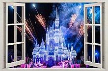 poster Adesivi Castello 3D finestra vista