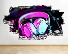 poster Adesivi Cuffie Neon Music Decks Adesivo