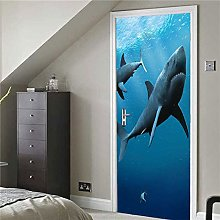 Poster Per Porte 3D Squalo Pvc Wallpaper