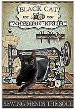 Poster vintage in metallo per cucire e cucire con