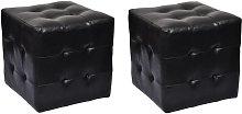 Pouf a Cubo 2 pz in Similpelle Nero - Nero - Vidaxl