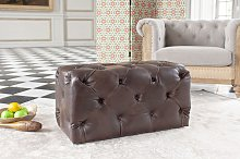 Pouf Chesterfield in pelle scuro