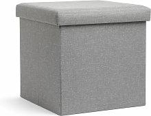 Pouf contenitore cubo pieghevole, grigio
