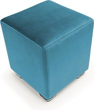Pouf CUBE in velluto made in italy   azzurro