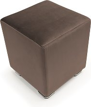 Pouf CUBE in velluto made in italy   marrone