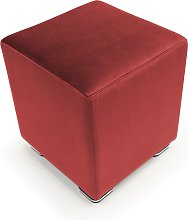 Pouf CUBE in velluto made in italy   rosso
