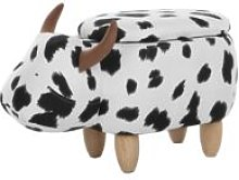 Pouf in tessuto bianco/nero COW