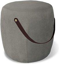 Pouf, in tessuto grigio chiaro con maniglia in