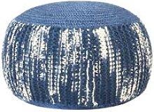 Pouf Intrecciato a Mano Blu e Bianco 50x35 cm Lana
