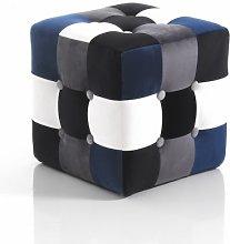 pouf KALEIDOS patchwork BLUE