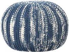 Pouf Lavorato a Mano Blu e Bianco 50x35 cm in Lana