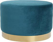 Pouf / poggiapiedi rotondo in velluto blu anatra e