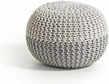 Pouf rotondo Arnot con fodera in maglia di cotone