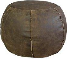 Pouf tondo in pelle marrone 50x35 h