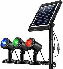 Proiettori LED solari impermeabili 3 lampade GRB,