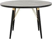 Pulligny Tavolo da pranzo in legno rotondo nero e