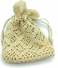 Pz 24 sacchetto macramé beige bomboniere h 12 cm