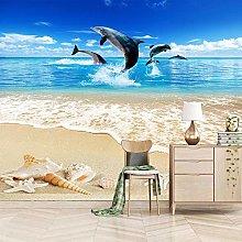 QHWLKJ Adesivo Murale Spiaggia e delfini Stickers