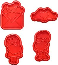QINGJIA 4pcs 3D Rose Heart Spring Cookie Biscotto