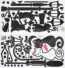 Qixuer 1Pcs Adesivo Murale Bianco e Nero Gli