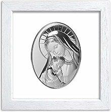 Quadretto in Legno con Placca Sacra Argentata