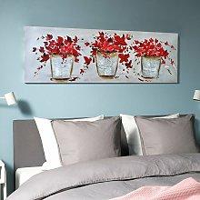 Quadro fiori dipinto a mano vintage su tela
