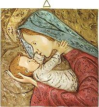 Quadro Madonna con Bambino quadrato in resina