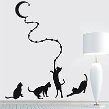Quattro gatti con la luna intagliato adesivo da