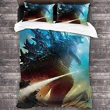 QWAS Godzilla - Set di biancheria da letto con
