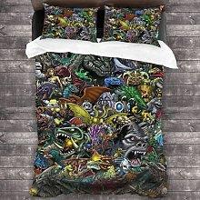 QWAS Godzilla - Set di biancheria da letto per