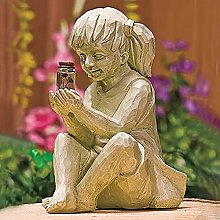 Ragazzo Ragazza Statue da Giardino,Solare